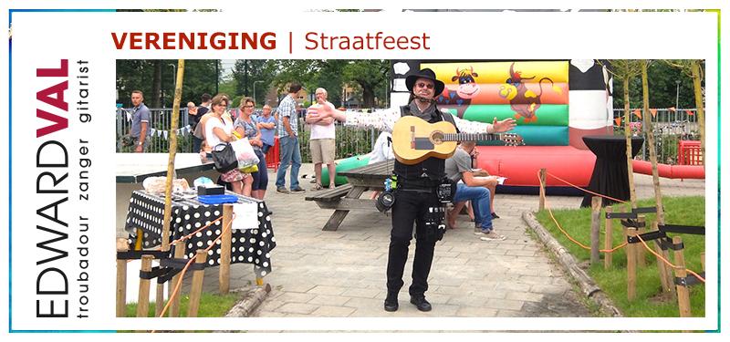 straatfeest buurtfeest dorpsfeest live muziek muzikant edward val troubadour zanger gitarist mobiel achtergrondmuziek interactie kinderen