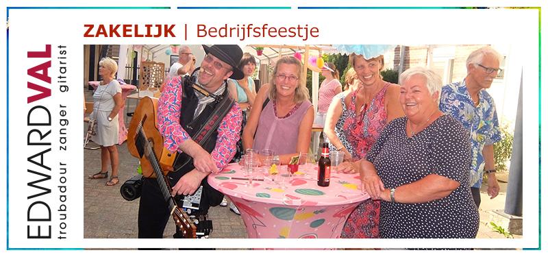 beurs beursborrel Mobiele muzikant bij bedrijfsfeestje event | zanger gitarist boeken artiestenbureau Edward Val Gelderland