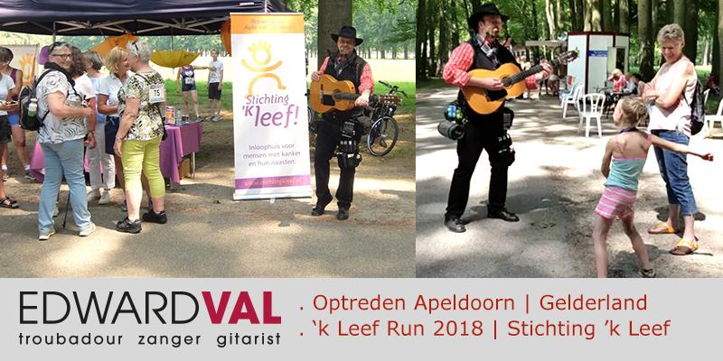 Apeldoorn | Stichting kLeef | Mobiele live muziek inhuren | Troubadour Edward Val | Muzikale animatie | Prestatieloop Kleef run | Optreden bij Het Loo | De Naald | Nijkerk Entertainment