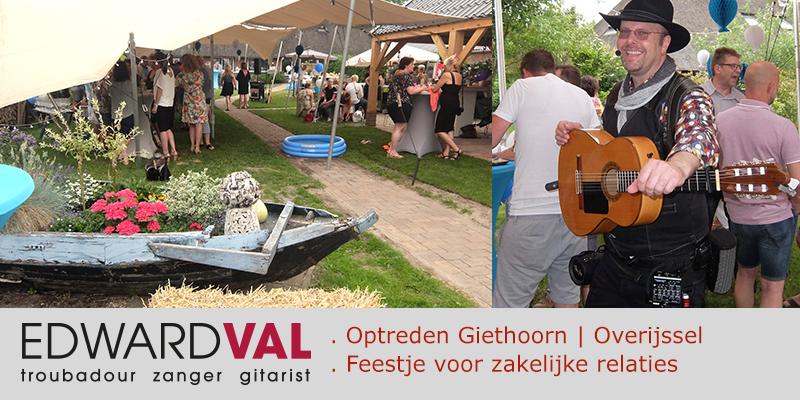 Zanger gitarist feest Giethoorn Overijssel | Tuinfeest Tuinfestival Huwelijksjubileum | Live troubadour achtergrondmuziek boeken | Mobiele muzikant Edward Val inhuren