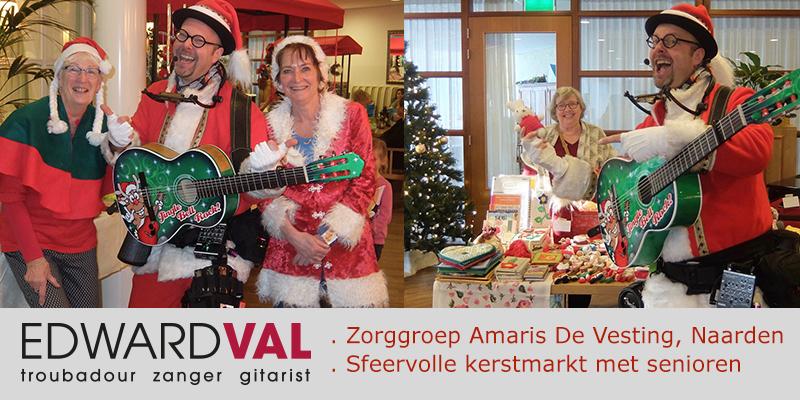 Zingende kerstman Eddie Xmas | Optreden Naarden Amaris Zorggroep | Kerstmarkt zorgcentrum ouderen senioren | Troubadour Edward Val | 00